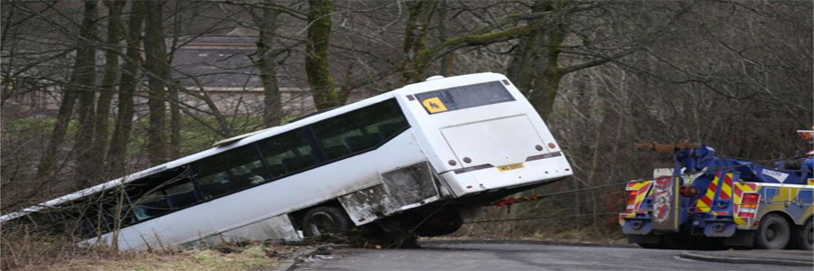 a bus crashed off a raod