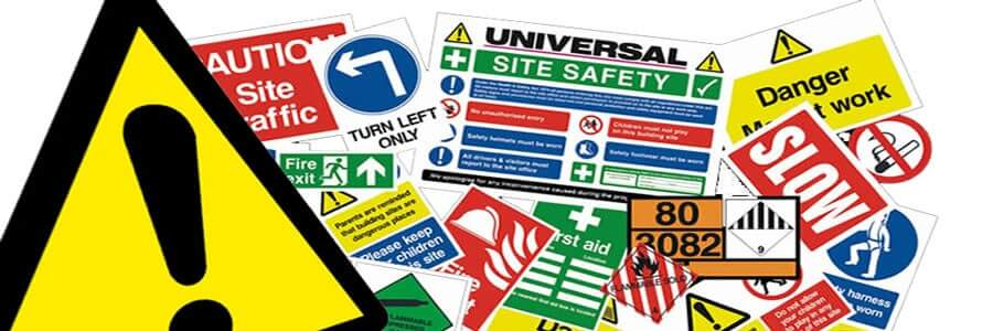 a collage of safety signs